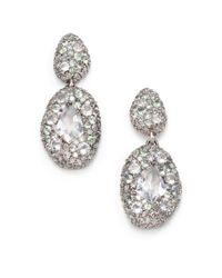 Alexis Bittar Fine | Metallic Grey Diamond Light Green Sapphire Quartz Sterling Silver Doubledrop Earrings | Lyst