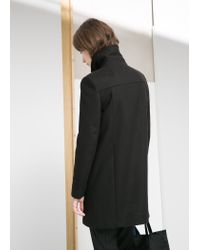 Mango - Black Double-Breasted Coat - Lyst