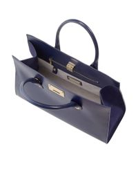 Jimmy Choo - Blue Riley Navy Smooth Leather With Shimmer Suede Tote Bag - Lyst