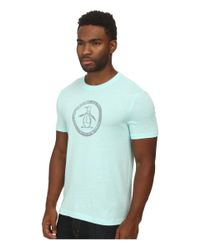Original Penguin - Blue Triblend Distressed Circle Logo Tee for Men - Lyst