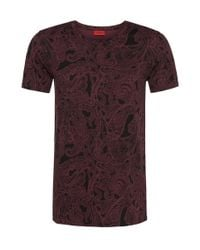 HUGO | Red 'daisley' | Cotton Paisley T-shirt for Men | Lyst