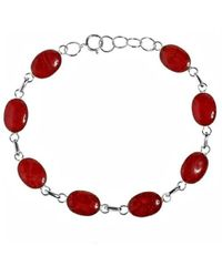 Aeravida | Metallic Strong Vocals Red Coral Link .925 Sterling Silver Stone Bracelet | Lyst