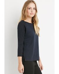 Forever 21 - Blue Shadow Stripe Top - Lyst