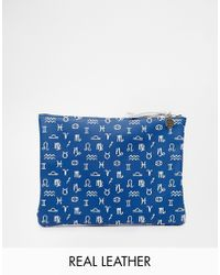 Falconwright - Blue Leather Clutch In Zodiac Print - Lyst