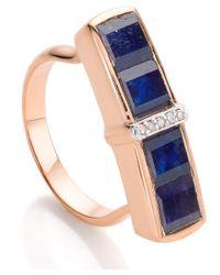 Monica Vinader - Rose Gold Vermeil Blue Sapphire Diamond Baja Precious Ring - Lyst