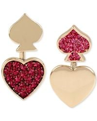 Betsey Johnson | Metallic Gold-tone Pink Pavé Heart And Spade Front-to-back Mismatch Earrings | Lyst
