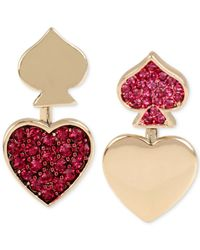 Betsey Johnson - Metallic Gold-tone Pink Pavé Heart And Spade Front-to-back Mismatch Earrings - Lyst