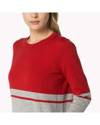 Tommy Hilfiger | Red Wool Blend Colorblock Sweater | Lyst