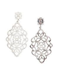Vendoro - Metallic Diamond Filigree Drop Earrings - Lyst