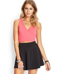 Forever 21 - Pink Charmed Surplice Crop Top - Lyst
