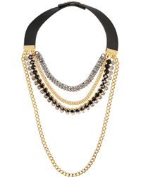 Marni | Metallic Leather And Crystal Multi-Strand Necklace | Lyst