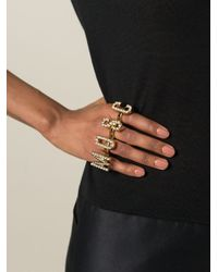 Moschino | Metallic Logo Knuckle Rings | Lyst