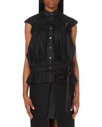 Sacai | Black Sleeveless Pleated Top | Lyst
