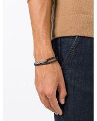Eleventy - Black Woven Leather Bracelet for Men - Lyst