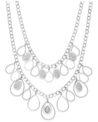 Style & Co. | Metallic Glitter Teardrop Shaky Frontal Necklace | Lyst