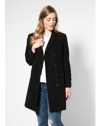 Violeta by Mango - Black Double-Breasted Coat - Lyst