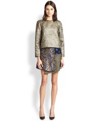 SUNO - Multicolor Asymmetrical Patchwork Wrap Skirt - Lyst