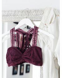 Free People | Purple Seamless Racerback Crochet Bra Cutout Cheeky Undie | Lyst