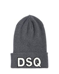 DSquared² | Gray Logo Patch Wool Beanie Hat for Men | Lyst