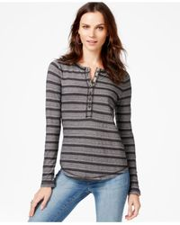 Lucky Brand | Black Striped Geometric-print Thermal Top | Lyst