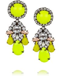 Shourouk - Yellow Marguerite Silverplated Swarovski Crystal Earrings - Lyst