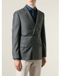Brunello Cucinelli | Gray Double Breasted Blazer for Men | Lyst