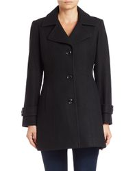 Anne Klein | Black Single-breasted Walker Coat | Lyst