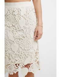 Forever 21 | Natural Embroidered Crochet Pencil Skirt | Lyst