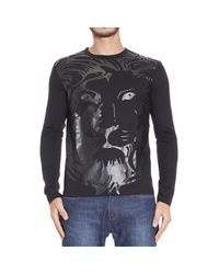 Versus | Black T-shirt Long Sleeve Crewneck With Print Lion for Men | Lyst