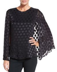 Cushnie et Ochs - Black Silk Dot Cape-sleeve Blouse - Lyst
