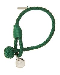 Bottega Veneta | Green Intrecciato Single Knot Leather Bracelet | Lyst