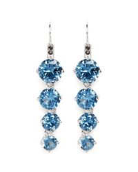 CZ by Kenneth Jay Lane | Blue Round Cut Cubic Zirconia Drop Earrings | Lyst