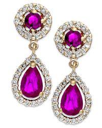 Macy's - Red Ruby (1-1/3 Ct. T.W.) And Diamond (3/8 Ct. T.W.) Drop Earrings In 14K Gold - Lyst
