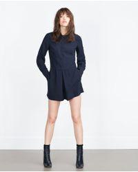 Zara | Blue Short Jumpsuit | Lyst