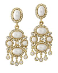 Kenneth Jay Lane | Metallic White Pearl Drop Clip Earring | Lyst