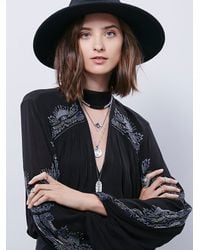 Free People | Black Embr Deep V Blouse | Lyst