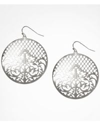 Express | Metallic Filigree Disc Drop Earrings | Lyst