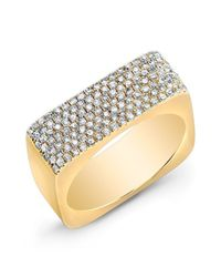 Anne Sisteron | Metallic 14kt Yellow Gold Diamond Brick Ring | Lyst