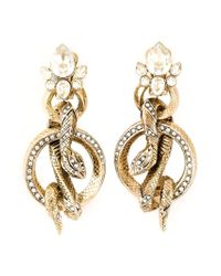 Roberto Cavalli | Metallic Rolled Snakes Hoops Earrings | Lyst