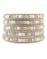 Chan Luu | Brown Green Aventurine Mix Wrap Bracelet On Beige Leather | Lyst
