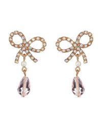 Betsey Johnson | Metallic Bow Heart Pearl Stud Earring Set | Lyst