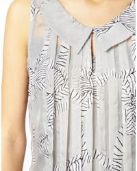 Traffic People | Gray Zebra Bow Print Collared Top | Lyst