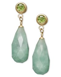 Macy's | Green 14k Gold Earrings, Jade (8-18mm) And Peridot (1 Ct. T.w.) Drop Earrings | Lyst