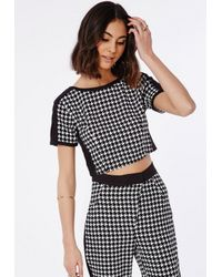 Missguided   Black Contrast Panel Dogtooth Crop Top   Lyst