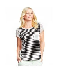 Maison Jules - Multicolor Striped Polkadot Top - Lyst