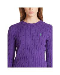 Polo Ralph Lauren | Purple Cabled Crewneck Sweater | Lyst