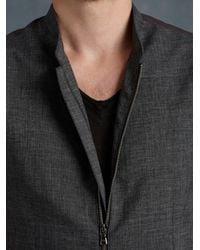 John Varvatos - Gray Full Zip Hybrid Waistcoat for Men - Lyst