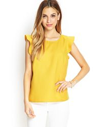 Forever 21 - Yellow Ruffled Woven Top - Lyst