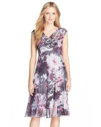 Komarov - Purple Print Chiffon & Charmeuse Dress - Lyst