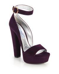Prada | Purple Suede Platform Sandals | Lyst